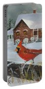 Winter Male Cardinal Portable Battery Charger