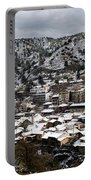 Winter Mountain Village Landscape With Snow Portable Battery Charger