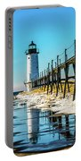 Winter Reflection At Manistee Light Portable Battery Charger