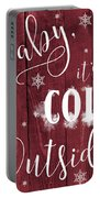 Winter Rustic Wood Sign Portable Battery Charger