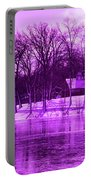 Winter Scene In Violet Portable Battery Charger