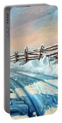 Winter Snow Tracks Portable Battery Charger by Hanne Lore Koehler