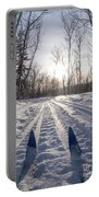 Winter Sport X-country Skis In Sunny Forest Tracks Portable Battery Charger