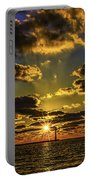 Winter Sunset At Muskegon Channel Light Portable Battery Charger