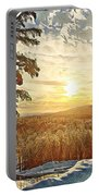 Winter Sunset Over The Mountains Portable Battery Charger