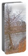 Winter Tree On Pond Shore Portable Battery Charger