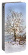 Winter Tree On Shore Portable Battery Charger