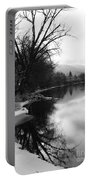Winter Tree Reflection - Black And White Portable Battery Charger