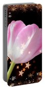 Winter Tulip With Gold Snow And Stars Portable Battery Charger