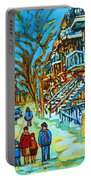 Winter  Walk In The City Portable Battery Charger