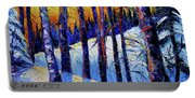 Winter Woodland Sunset Modern Impressionism Palette Knife Oil Painting Portable Battery Charger