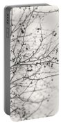Winter's Berries In Black And White Portable Battery Charger