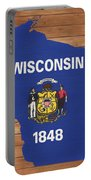 Wisconsin Rustic Map On Wood Portable Battery Charger