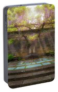 Wisteria Blooming On Trellis At Garden Patio Portable Battery Charger