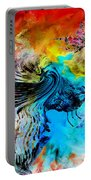 Wolf Playing With Butterflies Portable Battery Charger