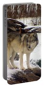 Wolfe In Winter Snow Portable Battery Charger
