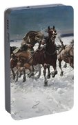 Wolves In Pursuit By Alfred Wierusz-kowalski 1849-1915 Portable Battery Charger