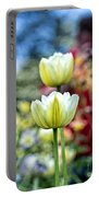 Photographer Behind The Flowers Portable Battery Charger