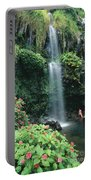 Woman Beneath Waterfall Portable Battery Charger
