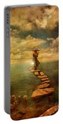 Woman Crossing The Sea On Stepping Stones Portable Battery Charger by Jill Battaglia