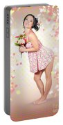Woman Holding Flowers In Hands. Spring Celebration Portable Battery Charger
