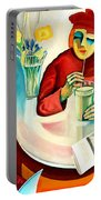 Woman In A Cafe Portable Battery Charger