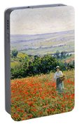 Woman In A Poppy Field Portable Battery Charger