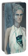 Woman In Ash And Blue Body Paint Portable Battery Charger