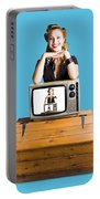 Woman  In Front Of Tv Camera Portable Battery Charger by Jorgo Photography - Wall Art Gallery