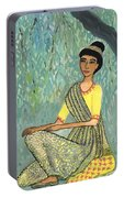 Woman In Grey And Yellow Sari Under Tree Portable Battery Charger