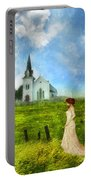 Woman In Lace By A Country Church Portable Battery Charger