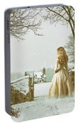 Woman In Snow Scene Portable Battery Charger