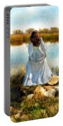 Woman In Victorian Dress By Water Portable Battery Charger
