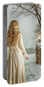 Woman In Winter Scene Portable Battery Charger