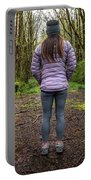 Woman On An Old Moss Covered Bridge In Olympic National Park Portable Battery Charger