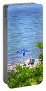 Woman On The Beach Portable Battery Charger