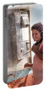 Woman On The Phone Portable Battery Charger