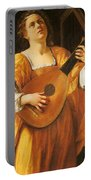 Woman Playing A Lute Portable Battery Charger