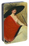 Woman Wearing Hat Portable Battery Charger