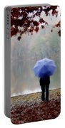 Woman With A Blue Umbrella Portable Battery Charger