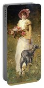 Woman With A Dog Portable Battery Charger