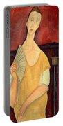Woman With A Fan Portable Battery Charger by Amedeo Modigliani
