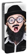 Woman With Fake Beard And Mustache Screaming Portable Battery Charger