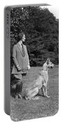 Woman With Great Dane, C.1920-30s Portable Battery Charger