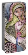 Woman With Large Eyes Portable Battery Charger by Prerna Poojara