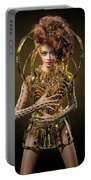 Woman With Messy Curl Updo In Golden Attire Portable Battery Charger