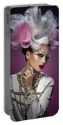 Woman With Pink And White Headpiece In White Dress Portable Battery Charger