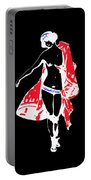Woman With Red Cape - And Not Much Else Portable Battery Charger