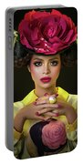 Woman With Red Flower Headdress Portable Battery Charger