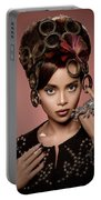Woman With Ring Headdress And Bouffant Hairstyle Portable Battery Charger